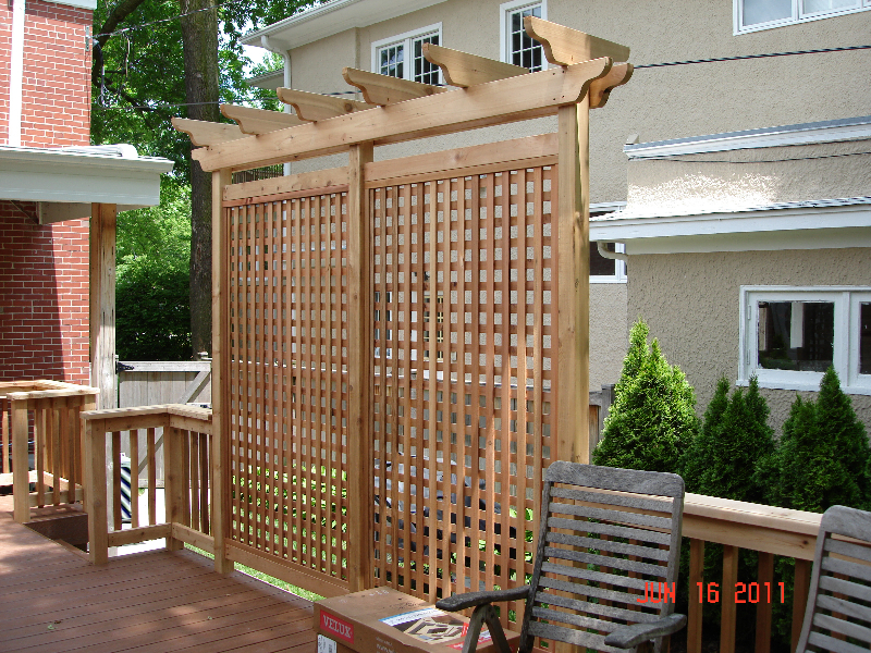 Gallery trellis pergolas georgetown decks for Deck trellis